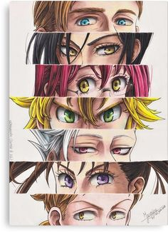 I tried a different format this time (with 7 pairs of eyes instead of no e . - Nantsu no taizai - Hand werk Otaku Anime, Anime Naruto, Manga Anime, Seven Deadly Sins Anime, 7 Deadly Sins, Seven Deadly Sins Tattoo, Anime Love, Kawaii Anime, Regard Animal
