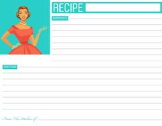 free printable christmas recipe cards | Click image for higher resolution