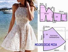 Com base nas medidas do desenho do molde de vestido de renda faça este belo e simples modelo. O molde de vestido está com as medidas correspondentes ao tamanho 40 para Portugal e 42 para o Brasil. A i