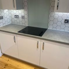 Geometric tiles, like these hexagon white tiles, have extra definition from a contrasting grout colour. Expertly tiled by the talented Geometric Tiles, Hexagon Tiles, White Tiles, Grout, Kitchen Tiles, Double Vanity, Contrast, Tiling, Flooring