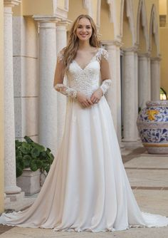 a239776df48f Sincerity Bridal - Style 44098  Long Sleeve Dress with Double Keyhole Back  Sincerity Bridal