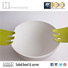 Salad bowl & server from Joseph Joseph UK - Salad bowl and hands on for mixing - Melamine-food safe - White & green - BD 20 Joseph Joseph, Salad Bowls, Good Company, Safe Food, Hands, Tableware, Green, Dinnerware, Tablewares
