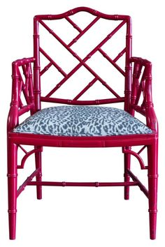 Chinese Chippendale chair in dark pink for captains chairs. Plain black  velvet upholstery though.