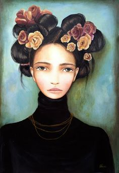 I love to alter Mona Lisa and here she is again with her new hairstyle.The original picture is by Claudia Tremblay. Art And Illustration, Mona Lisa, Claudia Tremblay, L'art Du Portrait, Ouvrages D'art, Mixed Media Art, Painting Inspiration, Female Art, Illustrator
