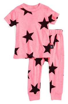 NUNUNU Star Print Tee & Leggings Set (Baby Girls)