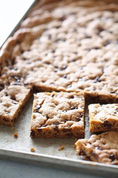 Sheet Pan Chocolate Chip Cookie Bars | Six Sisters' Stuff So good! Make sure to press them down fairly thin, I baked in 8x5 (half recipe) but next time I'll press them firmly into a flat cookie sheet. I did half mini chocolate chips and half butterscotch, yum!