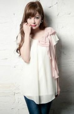 B003-Sweet Style Chiffon Scoop Neck Short Sleeves Bow Tie Women's Blou | Gie Bay
