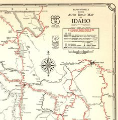 1932 Antique IDAHO State Road Map of Idaho Auto Road Map Black and White Gallery Wall Art Anniversary Gift for Birthday 11585 by plaindealing on Etsy