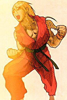 Ken Masters, the American martial artist. Ken Street Fighter, Street Fighter Alpha, Street Fighter Characters, Ken Masters, Wrestling Games, World Of Warriors, Pokemon Fan Art, Marvel Vs, Cartoon Movies
