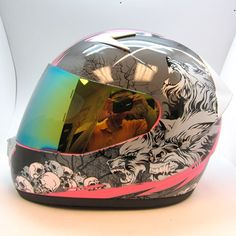 womens motorcycle helmet with pink sheld | 1Storm Motorcycle Street Bike Full Face Adult Helmet Booster Wolf Pink