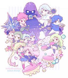 Sailor Moon, Sailor Mini Moon and the Negamoon crew