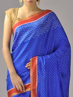 Blue Ikat Silk Saree