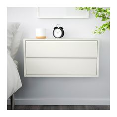 VALJE Wall cabinet with 2 drawers - white - IKEA. $85. This could also be used along shared wall as a narrow depth floating dresser with two next to each other.