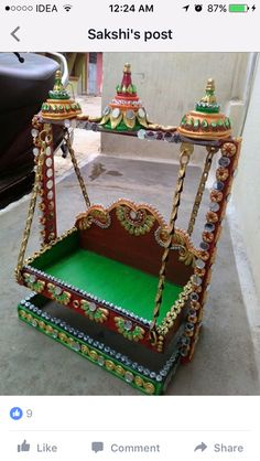 Mandir Decoration, Thali Decoration Ideas, Diwali Decorations, Indian Wedding Decorations, Krishna Art, Radhe Krishna, Crafts For Kids, Arts And Crafts, Diy Crafts