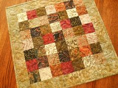 Quilted Batik Table Topper in Tonga Spice Collection by susiquilts