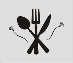 Knive Fork Spoon with flourish Sign & Fabric por SuperiorStencils