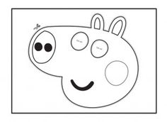 Your child can cut out and colour in this George face mask template for Peppa Pig dressing up games! iChild.co.uk