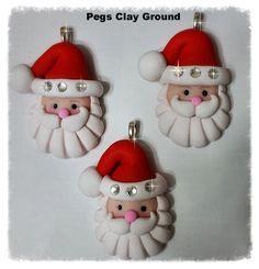 3 count Polymer Clay Santa, Rhinestone, Christmas Pendant, Charm , Clay Santa Ornament