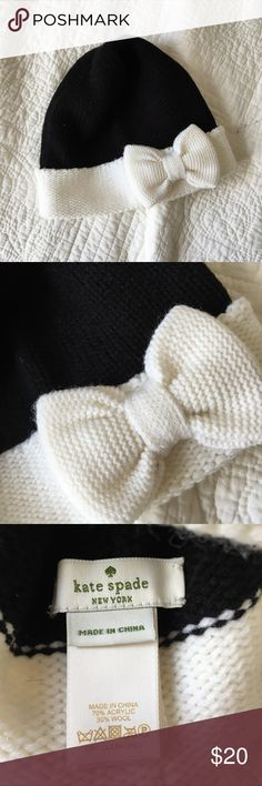 (NWOT) Kate Spade Winter Beanie New without tags (never worn!) // Black & white knit beanie with bow // One size fits all // Perfect condition kate spade Accessories Hats
