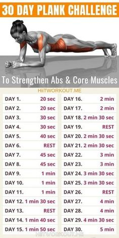30 Day Plank Challenge To Strengthen Abs & Core Muscles