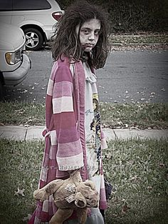 scary homemade costume for a girl little zombie girl