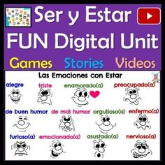 This Google Slides Spanish Ser & Estar Digital Mega Unit has grammar explanations, stories (Marvel characters, Lucía the Costa Rican sloth, cell phone conversation with María y su abuelita), digital activities, practices, songs, videos, quizzes, and everything needed to teach and reinforce these two important Spanish verbs.