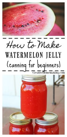 Canning watermelon jelly for beginners. This watermelon jelly is very easy to make and has a wonderfully light melon flavor. Jam Recipes, Cooking Recipes, Recipes Dinner, Lunch Recipes, Drink Recipes, Yummy Recipes, Healthy Recipes, Watermelon Jelly, Watermelon Syrup