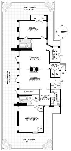 Floor plan for an apartment in the dakota apartment for Apartment floor plans new york