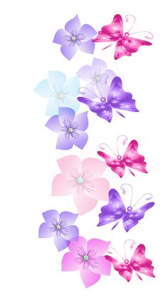 Butterflies and Flowers Decoration PNG Clipart