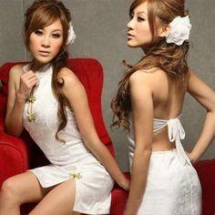 Hot Women Ladies Sexy Lingerie Mini Dress Cheongsam Slim Sleepwear Nightwear Sets With G-string