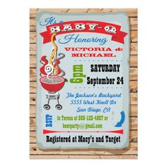 Rustic Baby Q Barbecue Couples Baby Shower Announcements