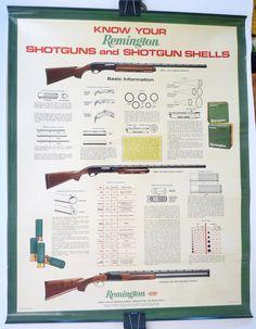 Remington Know Your Shotguns advertising poster vintage $65.00