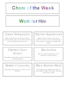 Free printable chore charts that are customizable. Plus a Work for Hire printable and system to allow the kids to work for extra money after chores...
