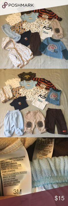 Lot of boy clothes!! 1 soft hoodied sweatshirt, 1 football helmet shirt, 3 pants and 9 onesies! See pics for exact sizes. You get the clothes seen here in the picture! Bundle and save, all in great condition!! Matching Sets