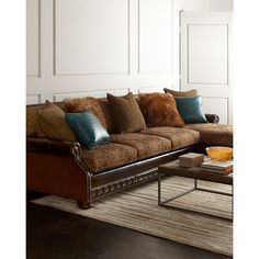 Massoud Autumn Jade Sectional Sofa (149,185 MXN) ❤ liked on Polyvore featuring home, furniture, sofas, nailhead couch, nailhead sofa, tibetan furniture, massoud furniture and nailhead furniture