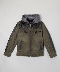 Look what I found on #zulily! Olive Distressed Jacket - Boys #zulilyfinds