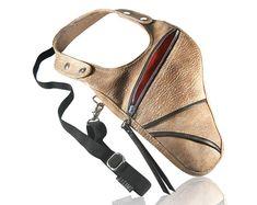 Leather shoulder holster bag / holster bag Made in FRANCE Leather Art, Leather Skin, Black Faux Leather, Sacoche Holster, Urban Bags, Leather Halter, Art Boxes, Bronze, Bag Making
