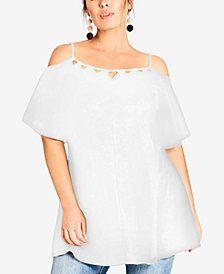 6cbebabc544 City Chic Trendy Plus Size Lace Flutter-Sleeve Top Trendy Plus Size