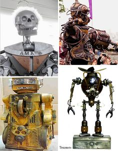These creative technological inventions have a streak of steampunk, robots built into a pseudo-Victorian mechanical fantasy or steampunkesque robot art.