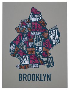 Brooklyn Neighborhood Map by Ork Posters by orkposters on Etsy