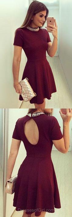 Mini Prom Dress, Satin Prom Dresses, Burgundy Homecoming Dress, Short Sleeve Homecoming Dresses,Open Back Cocktail Dress