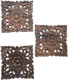 Wood Carved Wall Plaque Decorative Panels Rustic Decor Dark Brown Size 9 5 Set Of 3