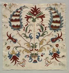 Fragment of Pillow Cover or Panel of Bedspread, Greece, Sporades Islands, Skyros, century embroidery: silk on linen tabby gro. Greek Design, Cleveland Museum Of Art, Turkish Art, Quilted Pillow, Textiles, Fabric Art, Quilting Designs, Needlepoint, Hand Embroidery