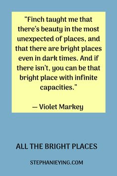 All The Bright Places Quotes, Bright Quotes, Quotes For Book Lovers, Quotes To Live By, Meaningful Quotes, Inspirational Quotes, Jennifer Niven, Place Quotes, He Makes Me Happy