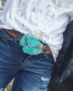 Turquoise buckle — cactus button up