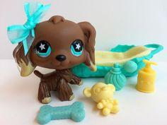 Littlest Pet Shop RARE Chocolate Cocker Spaniel #960 w/Bed & Accessories #Hasbro