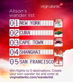 To celebrate our sale we're giving one lucky person the chance to win flights to 5 of our amazing destinations. Fancy sunbathing in St Lucia? Or shopping in Shanghai? Tell us what's on your wander list for a chance to make your dream escapes a reality. Enter at virginatlantic.com/wanderlist