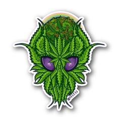 Alien Bud Leaf Sticker | Vinyl Stickers | Marijuana Stickers | Clear Stickers