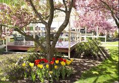 Enjoy the colors of Spring in the spacious hotel courtyard at the Fireside Inn & Suites in Portland, Maine. http://www.firesideinnportland.com
