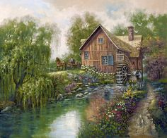 Willow Creek Mill by Carl Valente ~ country grist mill on  stream ~ springtime floral ~ willow tree ~ horse-drawn wagon